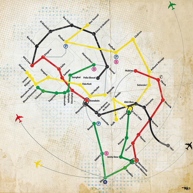 Africa Subway Map by Talib Artworkz