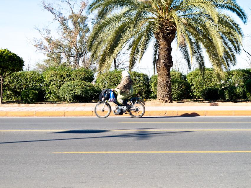 Marrakesch Moped fahrende Frau