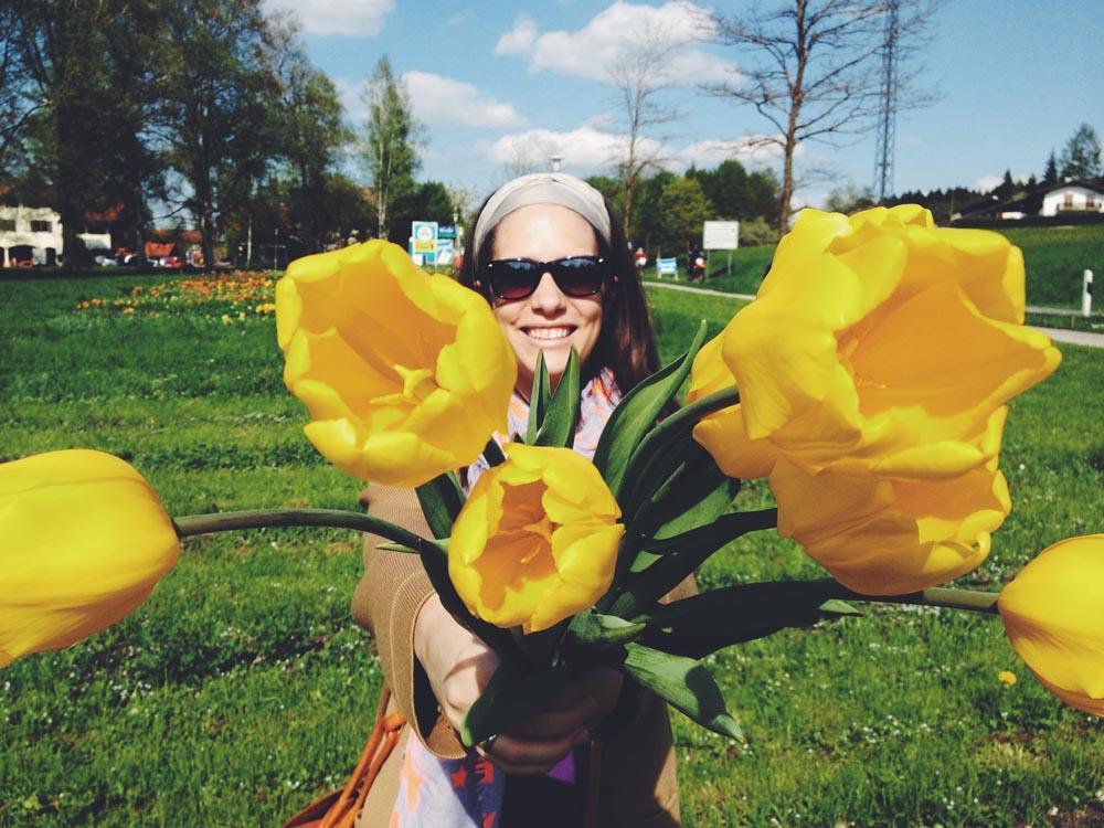 München ich mit Blumen