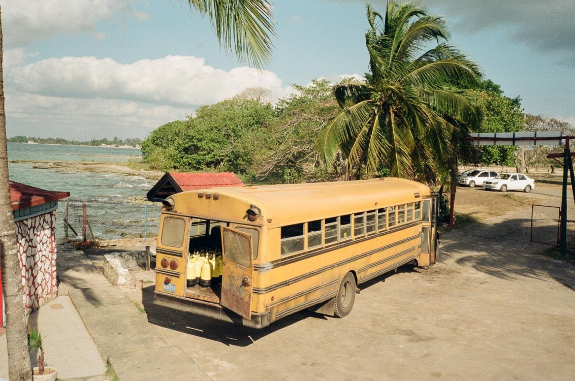 Old canadian school bus used in Cuba by a diving company. Playa Larga.